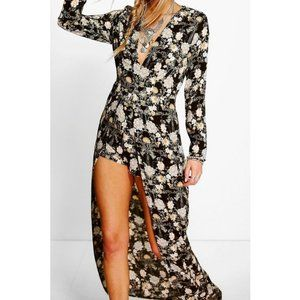 Ada Long Sleeve Deep Plunge Wrap Floral Playsuit